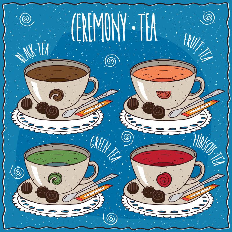 矢量的餐厅茶点插图