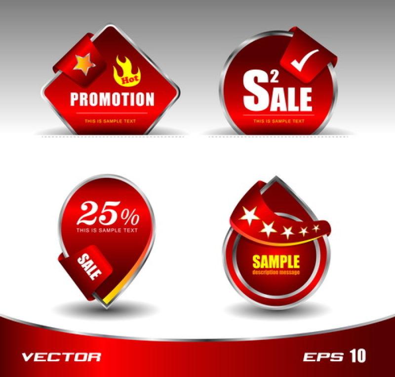 红色的销售标签设计矢量插图