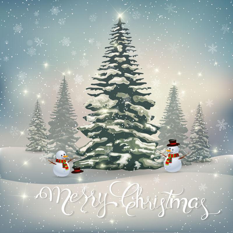 圣诞快乐矢量插图