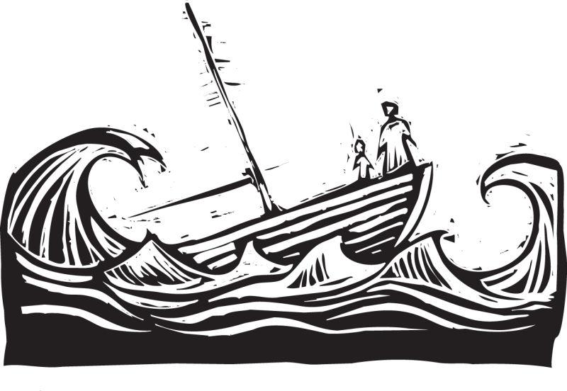 海上航行的小船矢量插图