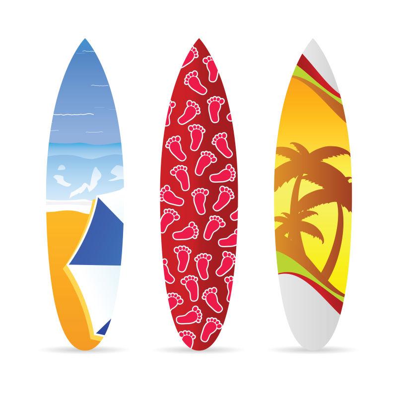 矢量抽象彩色冲浪板设计插图