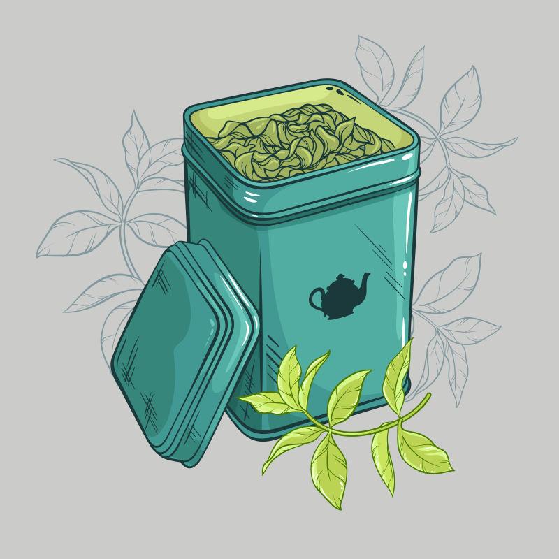 矢量的茶叶盒
