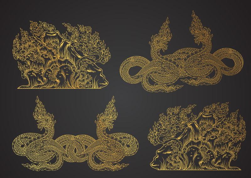 矢量的泰国传统花纹设计