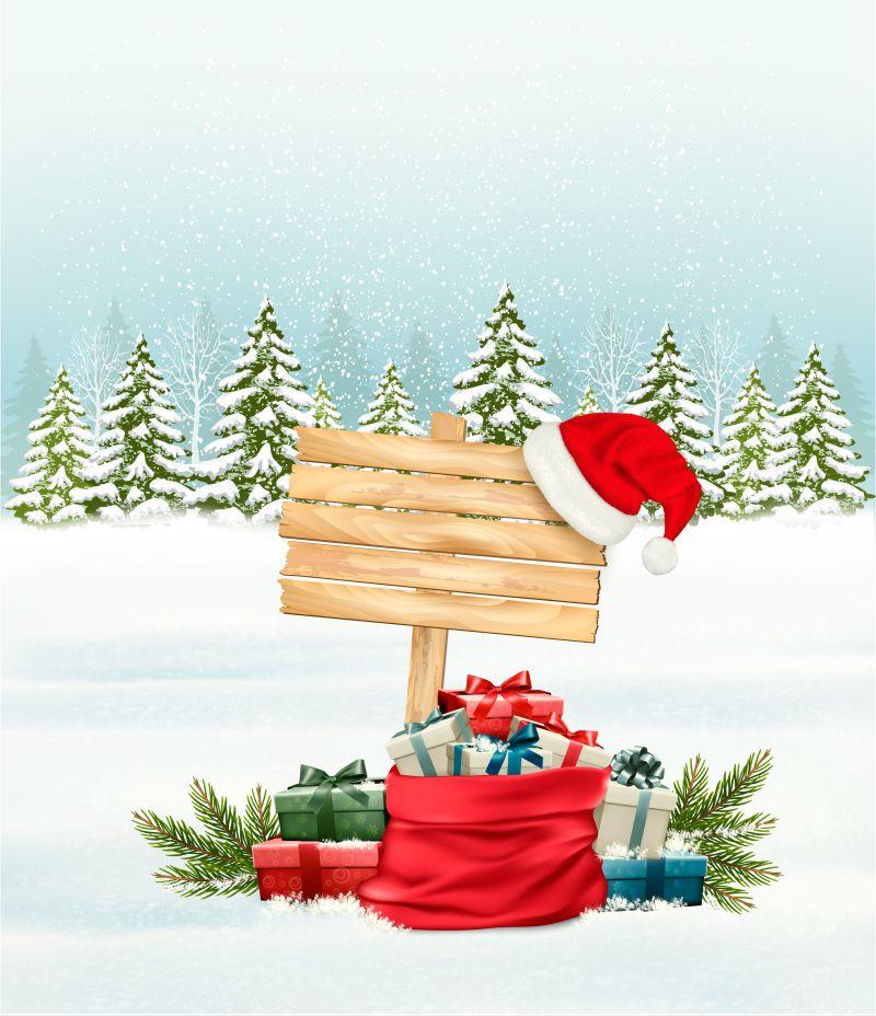 矢量假日圣诞雪景设计背景