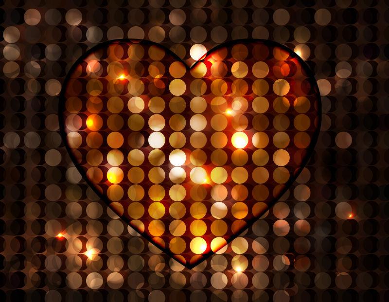 矢量抽象爱心形状的特殊灯光设计元素