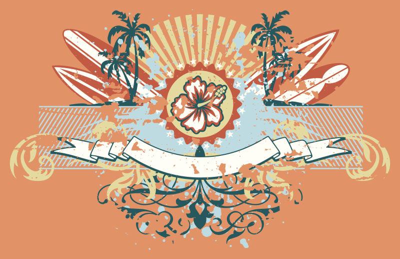 橘黄色冲浪徽章贴纸矢量