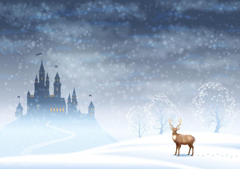 圣诞节冬季矢量景观与城堡剪影和鹿