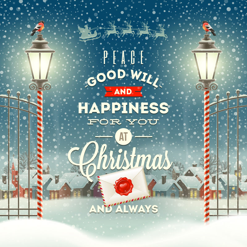 圣诞问候型设计与老式街灯对傍晚农村冬季景观矢量插图