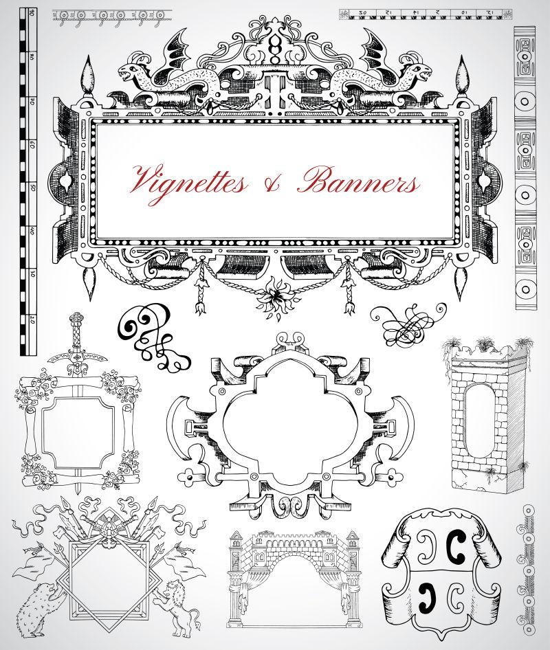 抽象矢量古典风格的装饰设计元素