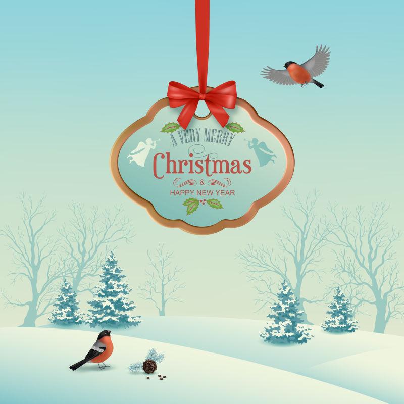 矢量圣诞冬季景观悬挂木标志