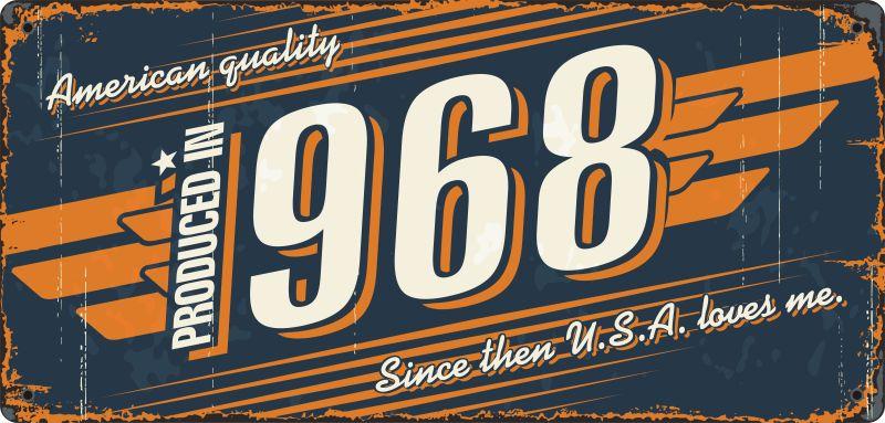 抽象矢量复古1968年金属标志设计
