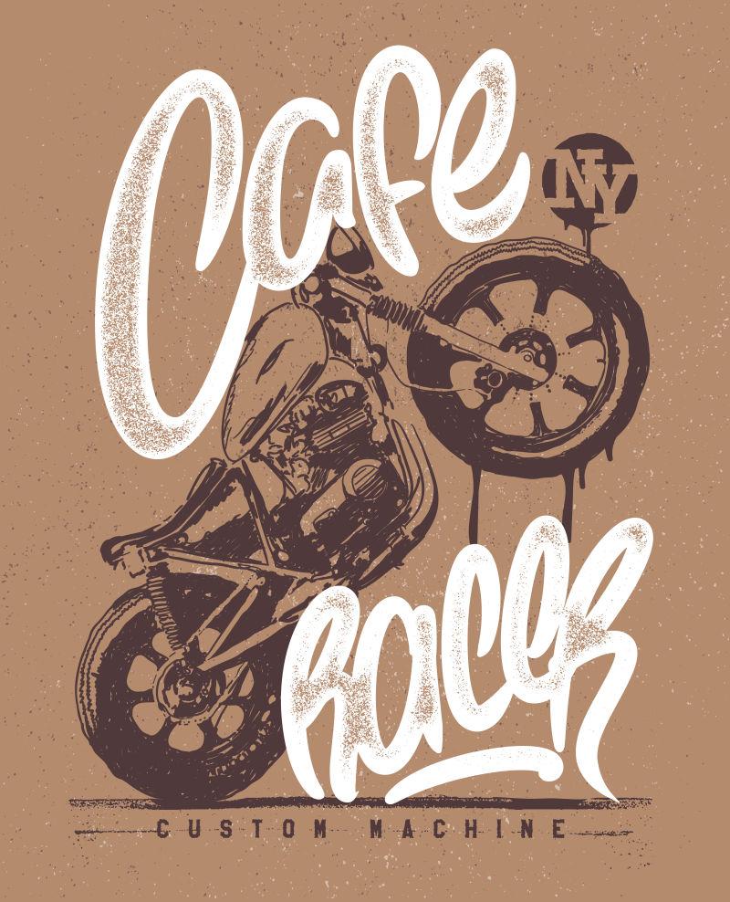 复古摩托车与字体矢量图