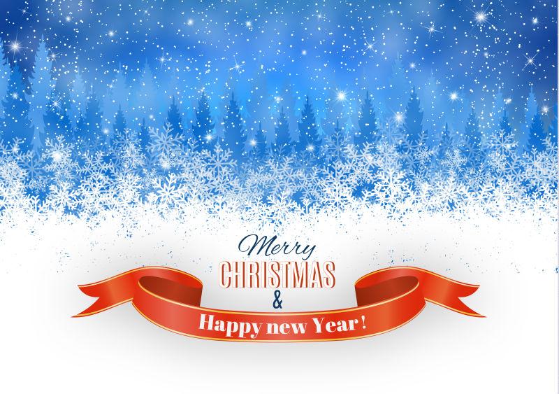 圣诞冬天的雪光矢量插图