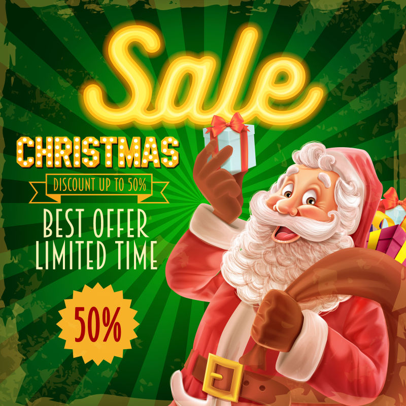 圣诞节绿色明信片布局矢量