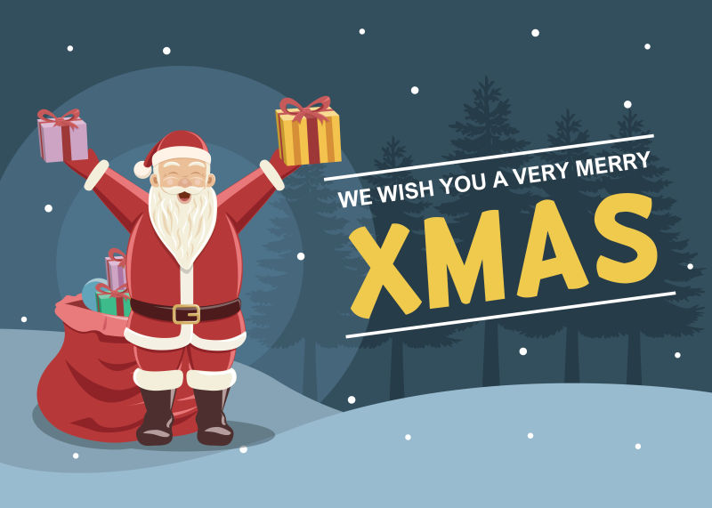 圣诞节的圣诞老人矢量插图