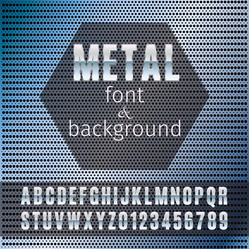 矢量金属字体和背景