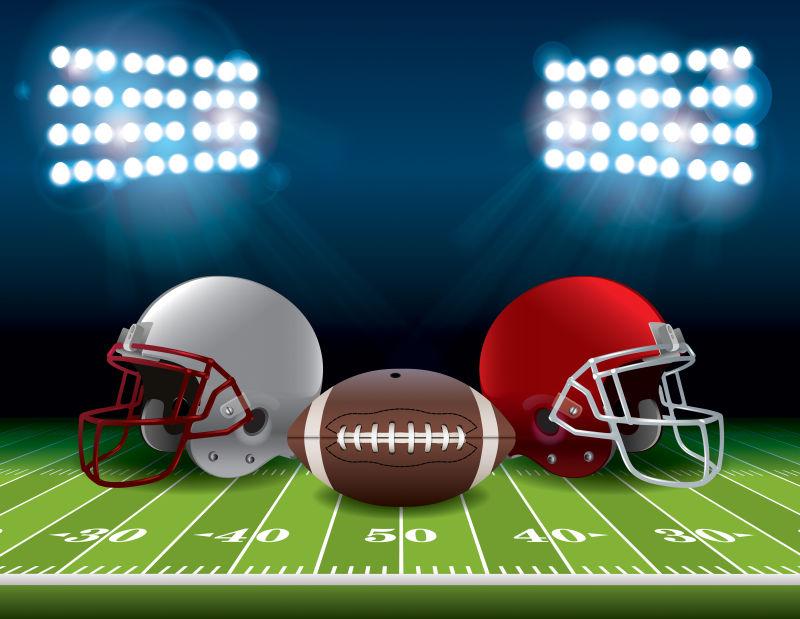矢量头盔和足球的美式足球场