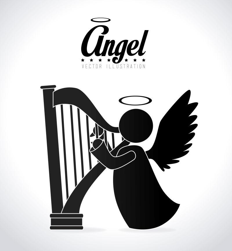 弹奏竖琴的天使矢量插图
