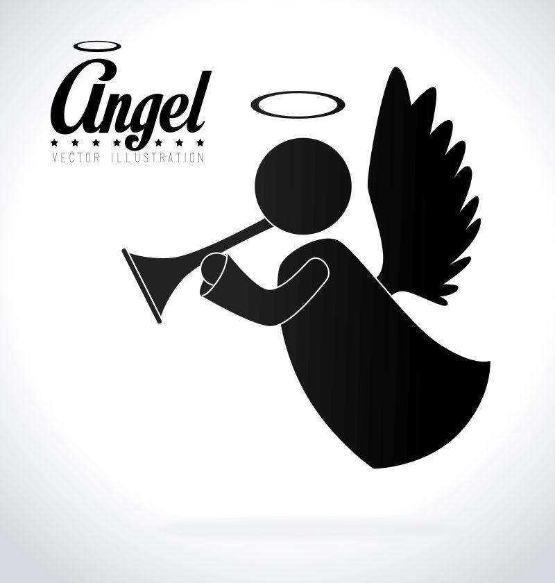 吹小号的天使矢量插图