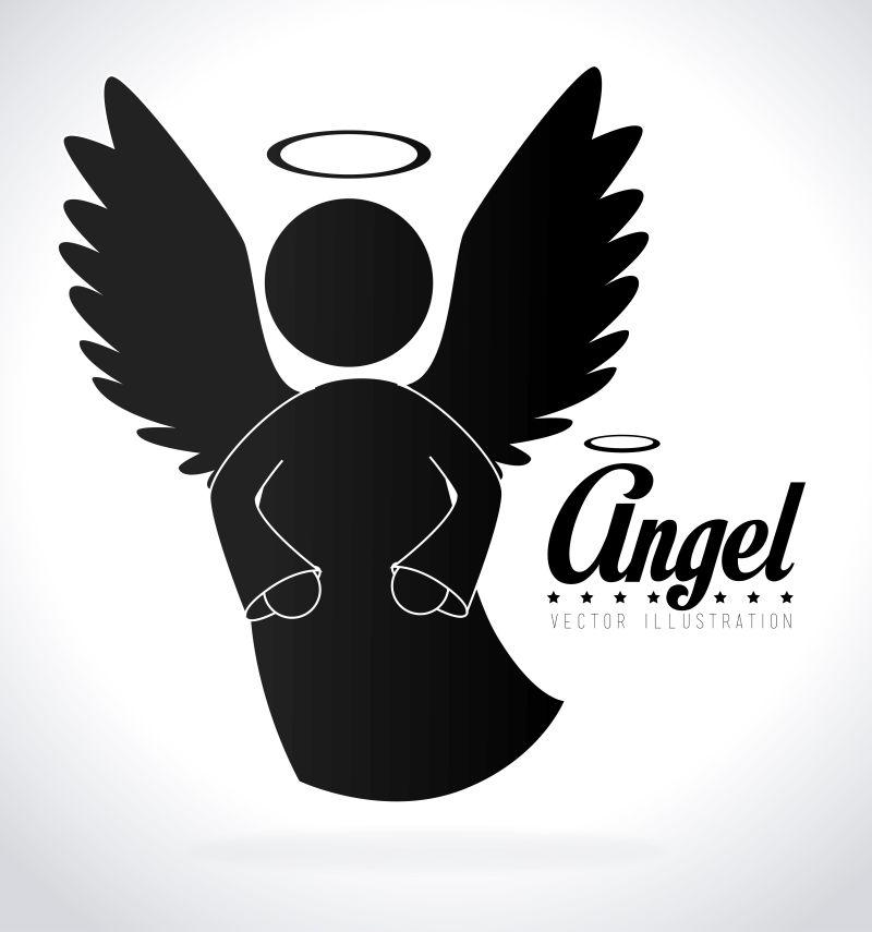 矢量的天使象形插图