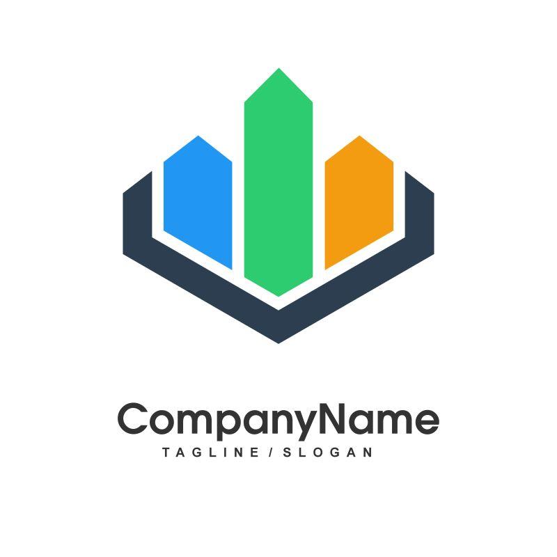 抽象几何图形矢量logo设计图