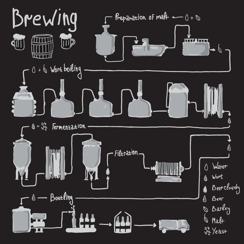 手绘矢量啤酒酿造工艺