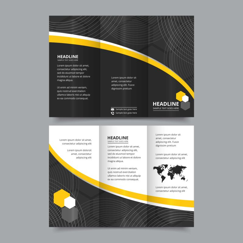 矢量的三折页宣传册设计