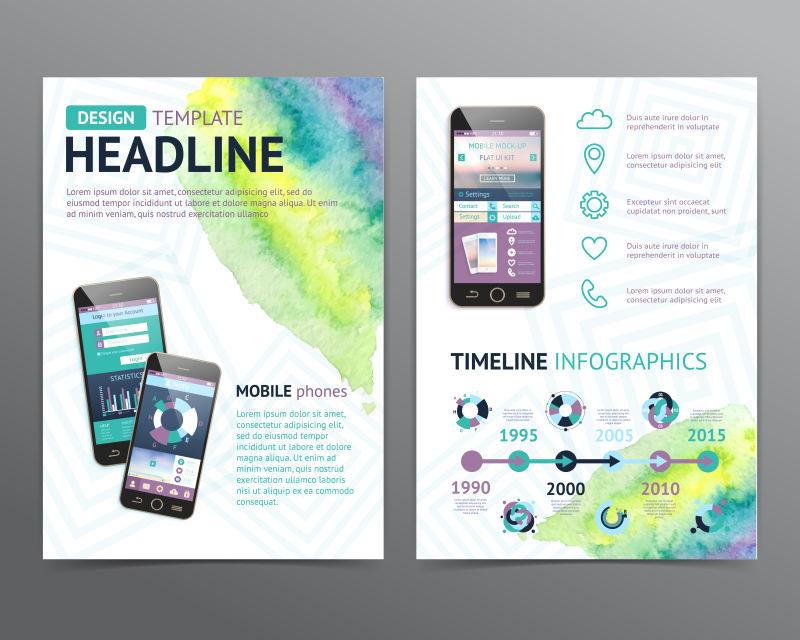 手机的宣传图表矢量设计