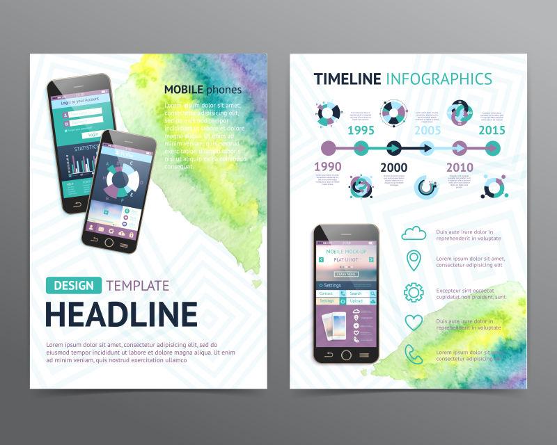 矢量的现代手机宣传图表