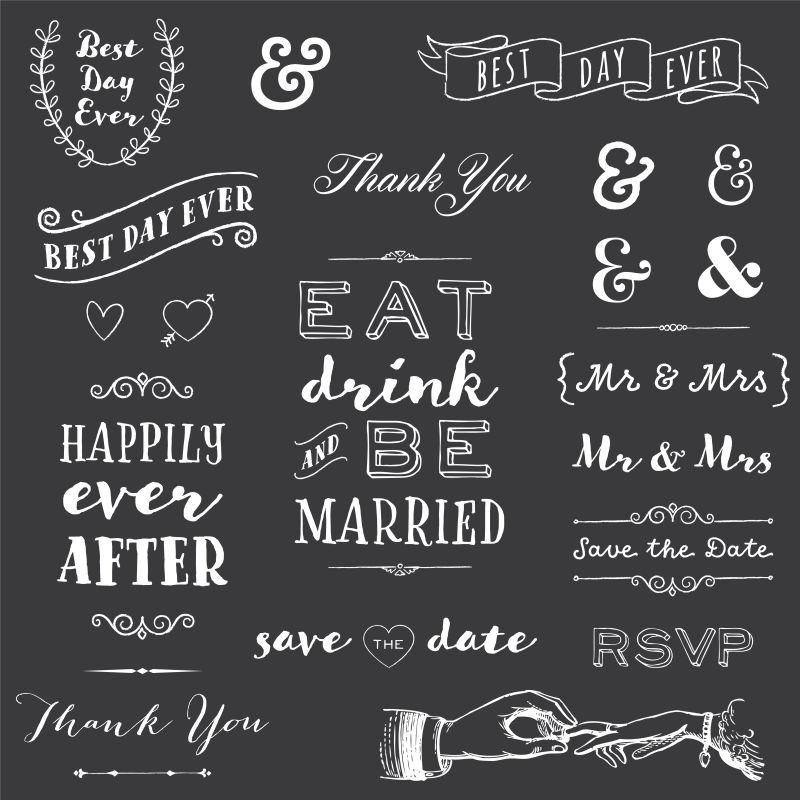 矢量的手绘婚礼主题插图