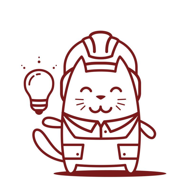 猫男微笑着拿着灯泡卡通矢量插图