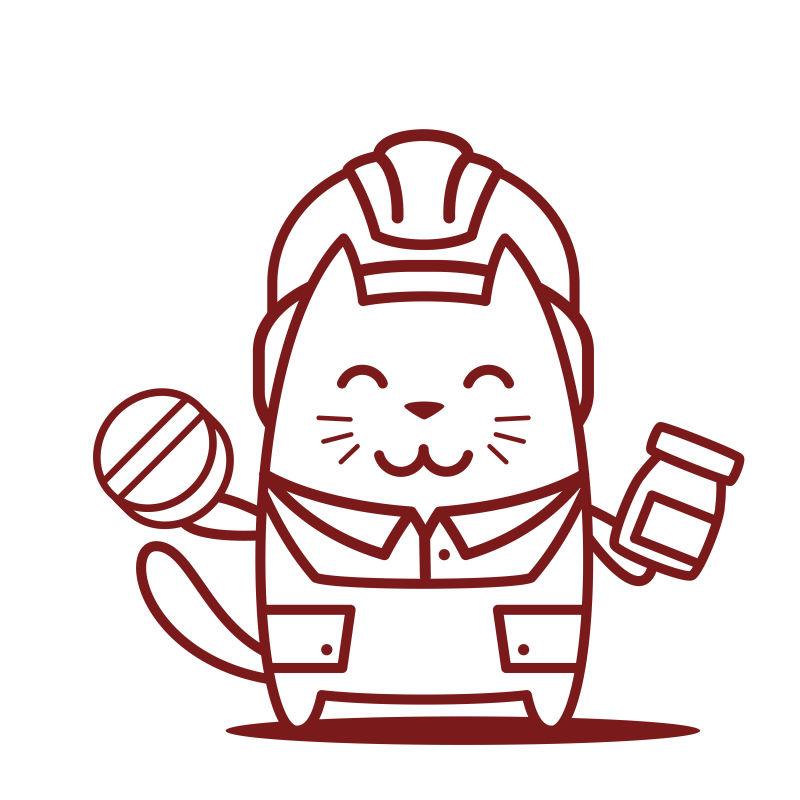 猫男微笑着拿着药丸和瓶子卡通矢量插图