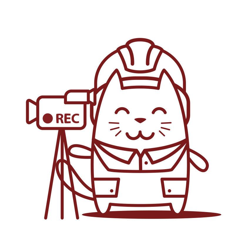 猫男微笑着拿着摄像机卡通矢量插图
