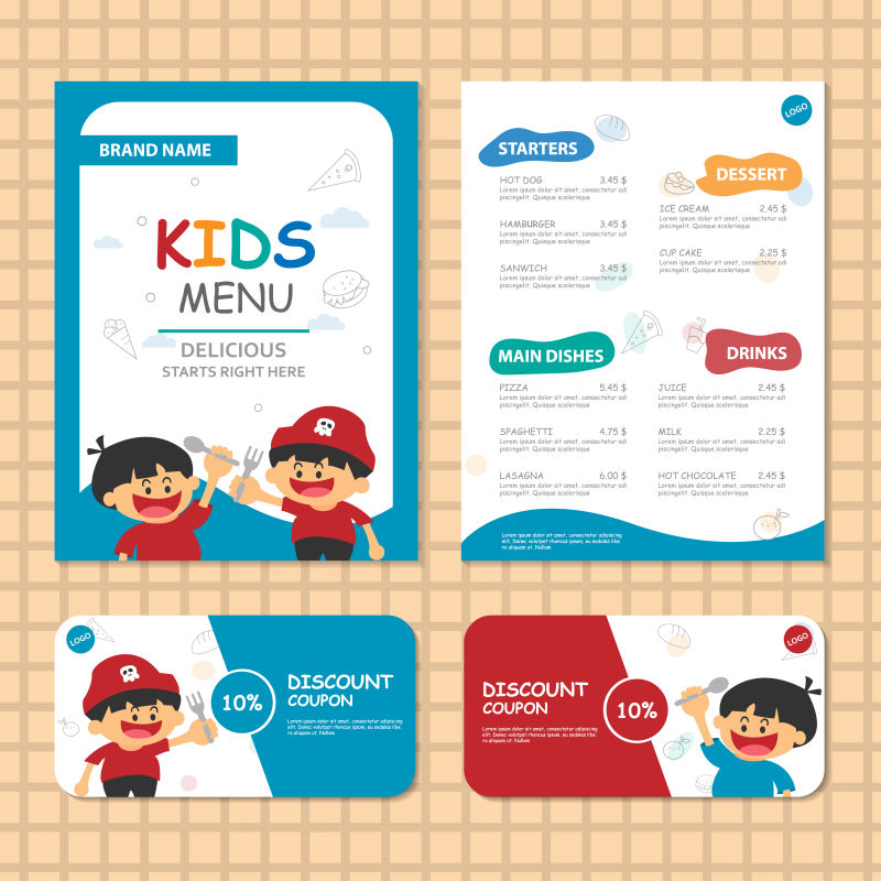 两款儿童菜单矢量