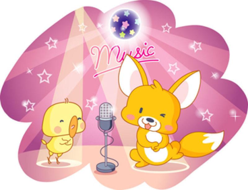 矢量卡通动物派对与歌唱