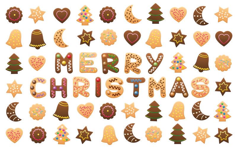 圣诞曲奇矢量创意字母
