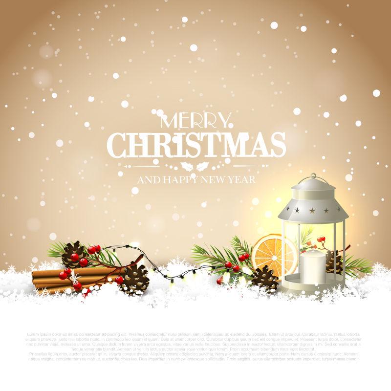 圣诞灯笼与矢量传统装饰贺卡