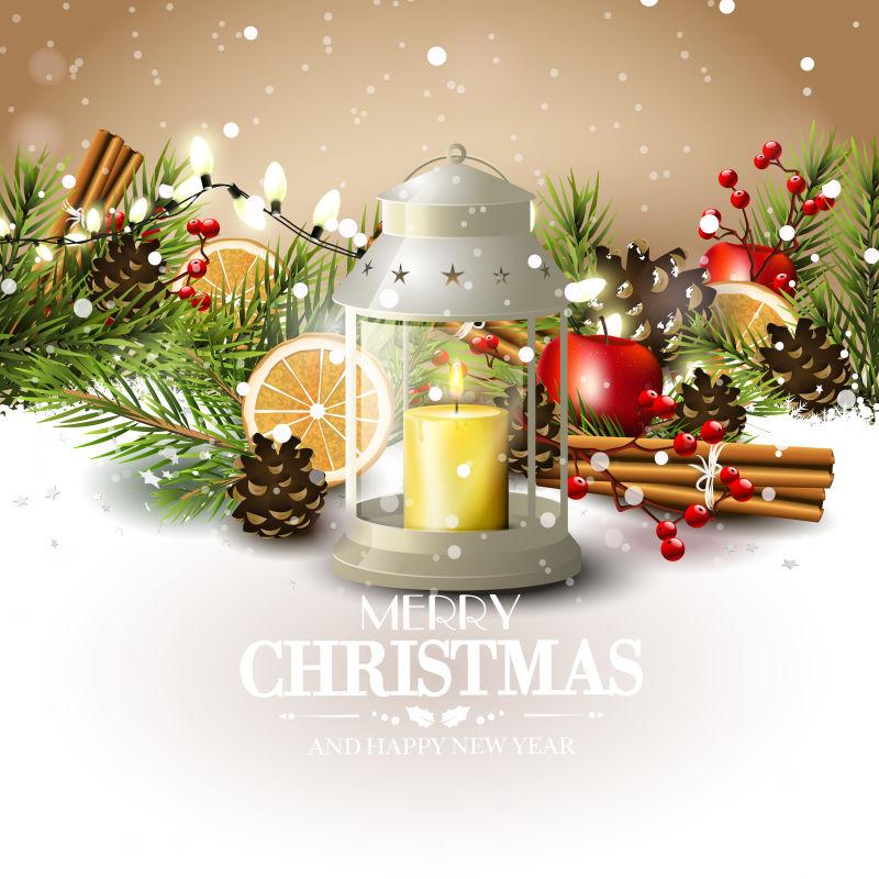 传统装饰的圣诞矢量贺卡