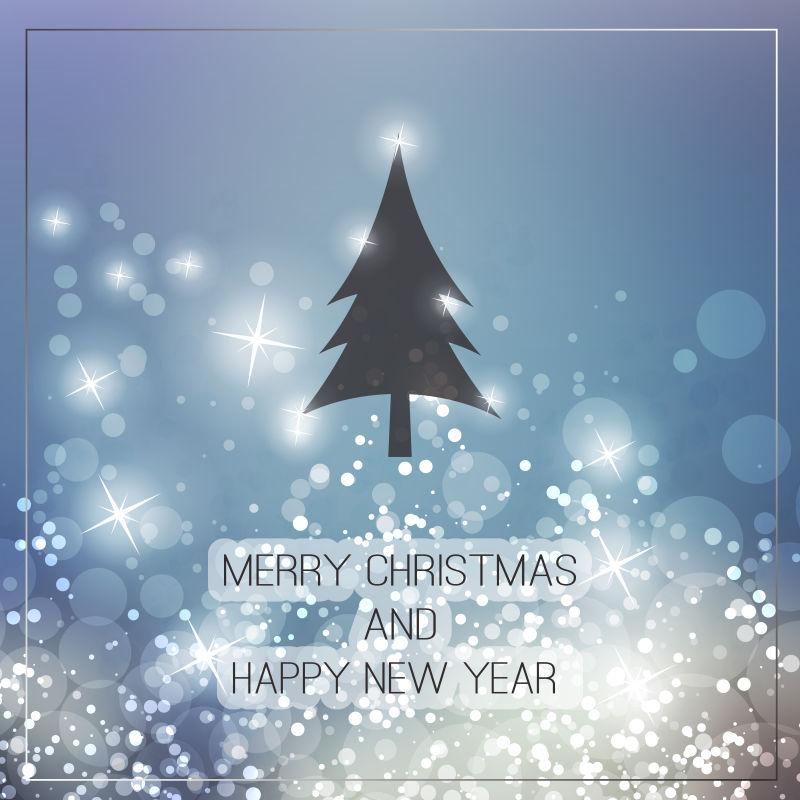 矢量圣诞树装饰贺卡背景设计