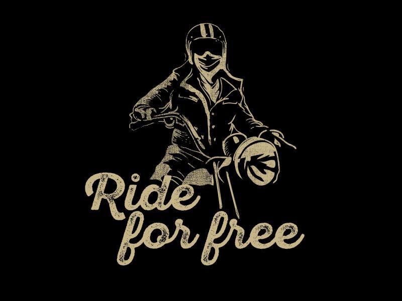 矢量骑摩托车T恤图案设计