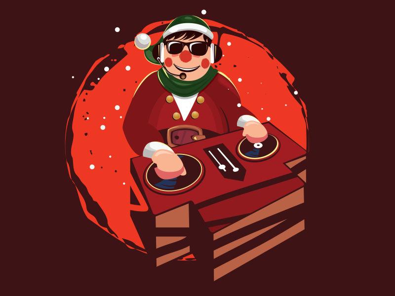 矢量DJ图案T恤设计