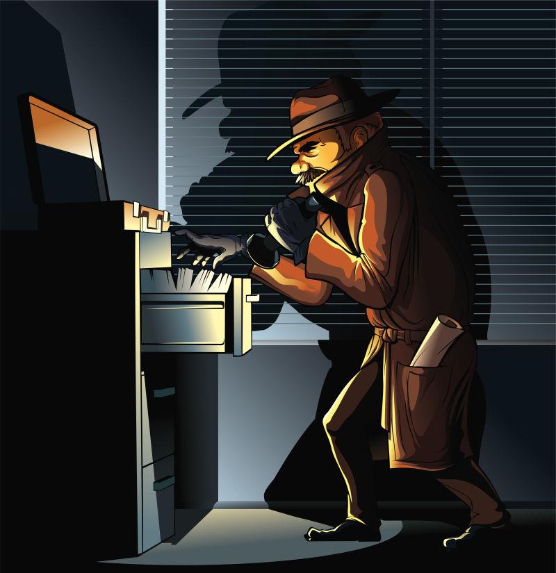 寻找文件的间谍矢量卡通人物形象