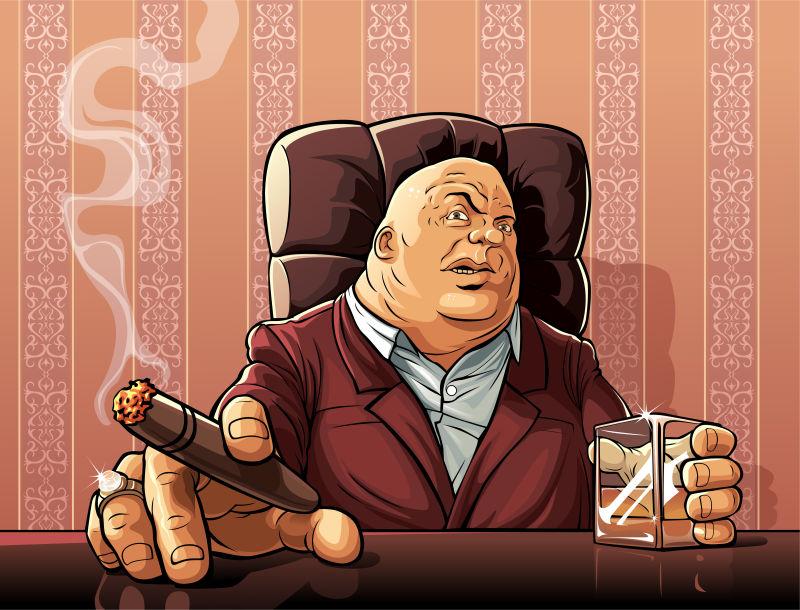 拿着酒杯和雪茄黑手党老板矢量卡通人物形象