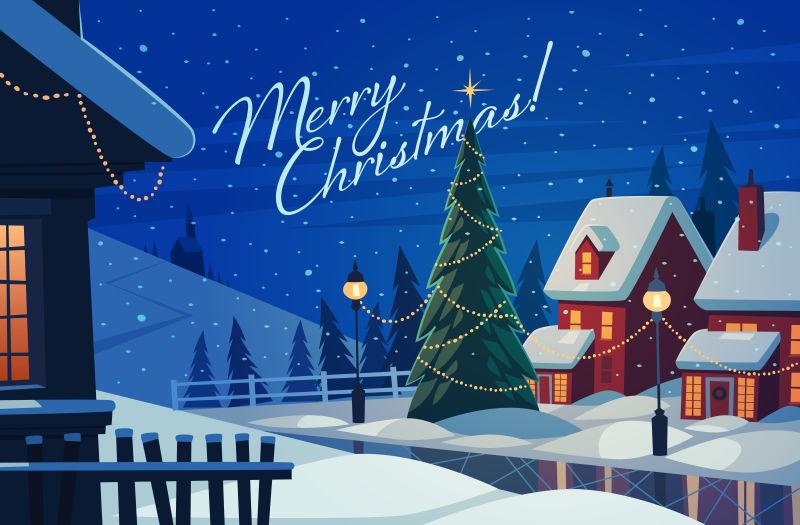 夜晚的村庄圣诞贺卡矢量插图