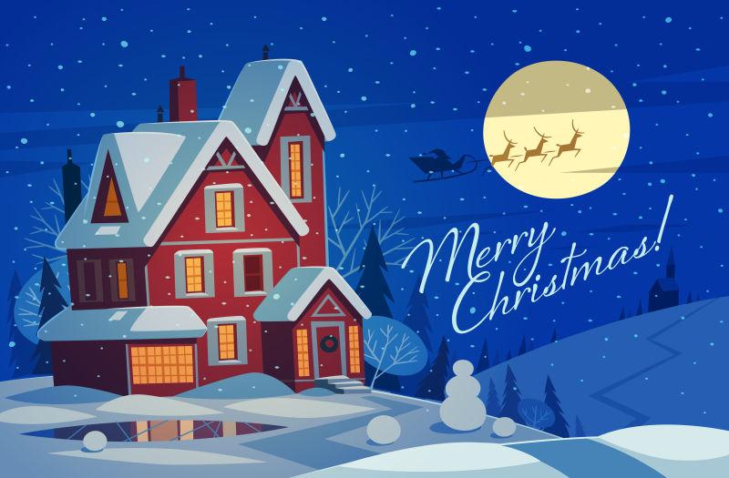 圣诞雪中房子矢量插图