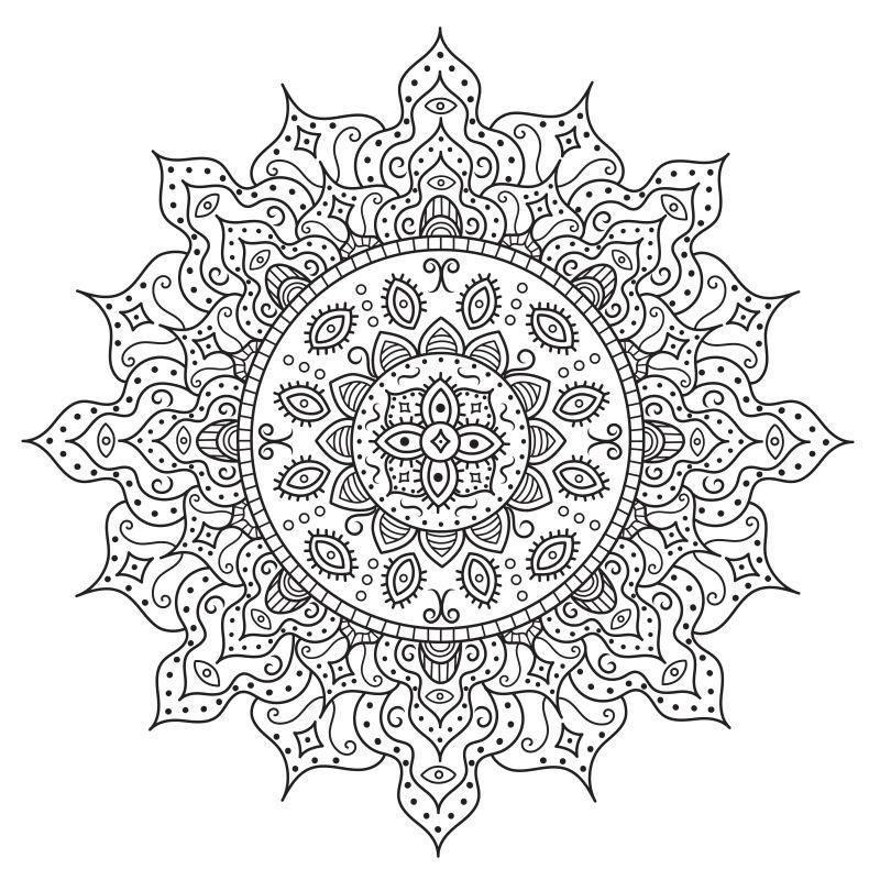 矢量着色曼荼罗黑白图案