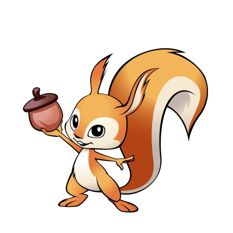 矢量有橡子的可爱吉祥物松鼠