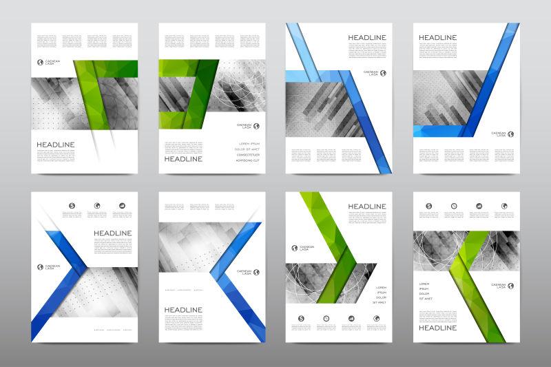 蓝绿风格公司宣传设计矢量