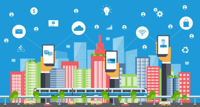 卡通商业智能城市概念矢量插图