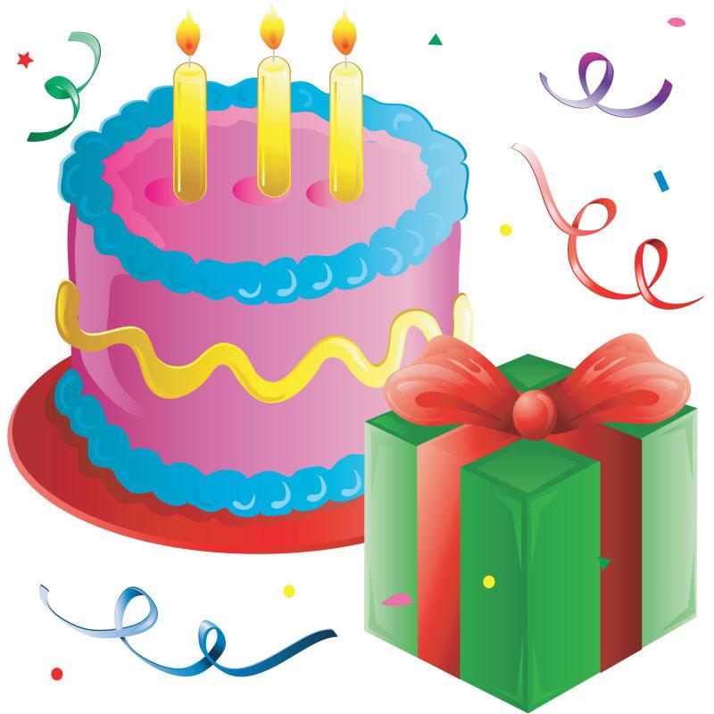 生日蛋糕和礼物矢量